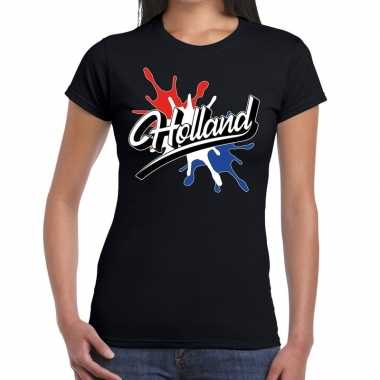 Holland t shirt spetter zwart dames