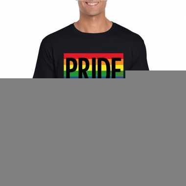 Homo shirt pride regenboog vlag heren zwart