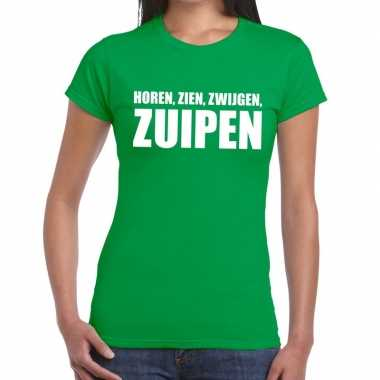 Horen zien zwijgen zuipen tekst t shirt groen dames