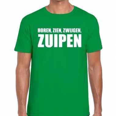 Horen zien zwijgen zuipen tekst t shirt groen heren