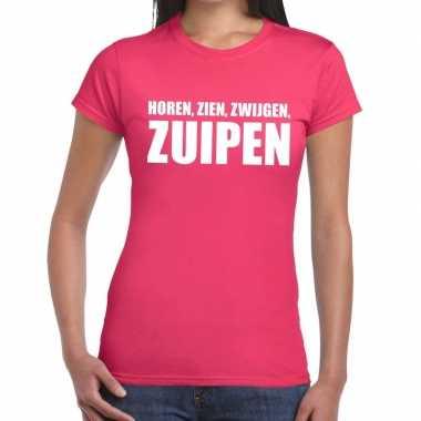 Horen zien zwijgen zuipen tekst t shirt roze dames