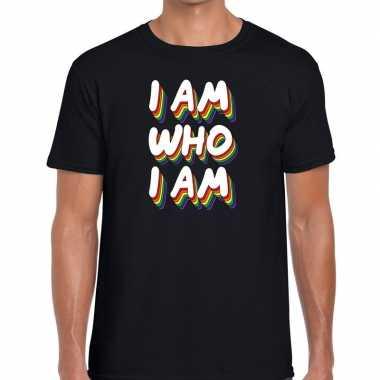 I am who i am gay pride t shirt zwart heren