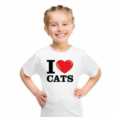 I love katten t-shirt wit jongens meisjes