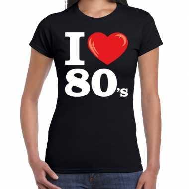 I love shirts dames zwart 80s bedrukking
