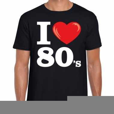I love shirts heren zwart 80s bedrukking