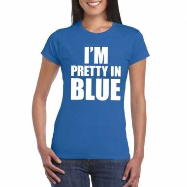 I'm pretty blue t shirt blauw dames