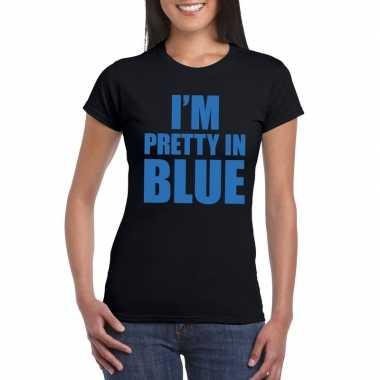 I'm pretty blue t shirt zwart dames