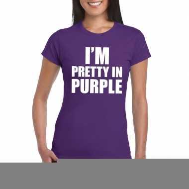I'm pretty purple t shirt paars dames