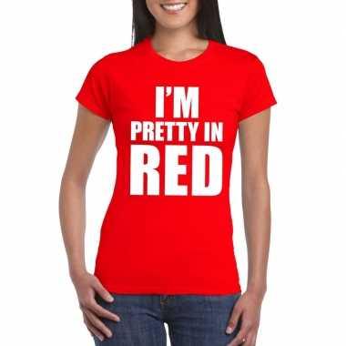 I'm pretty red t shirt rood dames