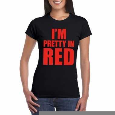 I'm pretty red t shirt zwart dames