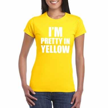 I'm pretty yellow t shirt geel dames