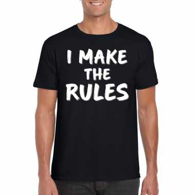I make the rules tekst t shirt zwart heren
