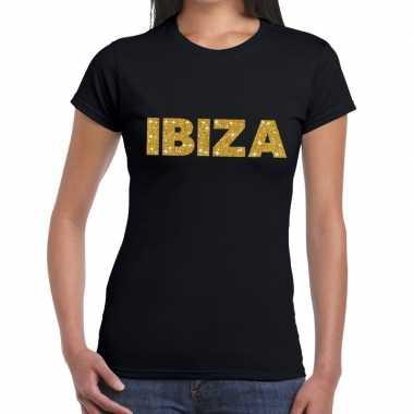 Ibiza gouden glitter tekst t shirt zwart dames