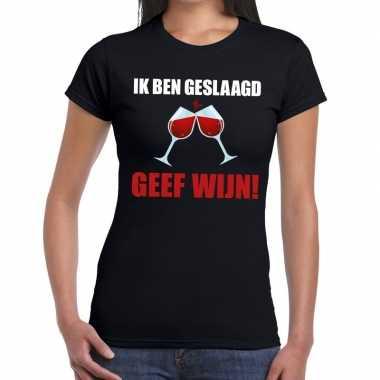 Ik ben geslaagd geef wijn t shirt zwart dames