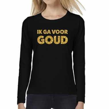 Ik ga goud glitter t shirt long sleeve zwart dames