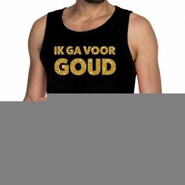 Ik ga goud glitter tanktop / mouwloos shirt zwart heren