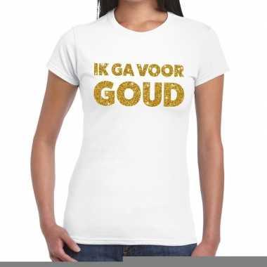 Ik ga goud glitter tekst t shirt wit dames