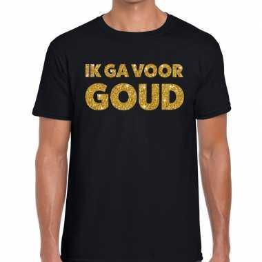 Ik ga goud glitter tekst t shirt zwart heren