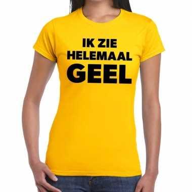 Ik zie helemaal geel tekst t shirt dames