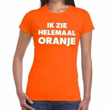 Ik zie helemaal oranje tekst t shirt dames