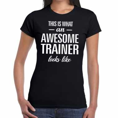 Kado/bedankt shirt awesome trainer dames