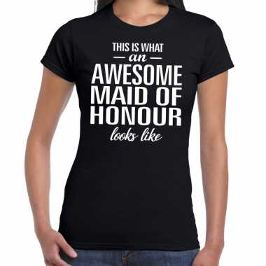 Kado shirt trouw getuige awesome maid of honour bedrukking