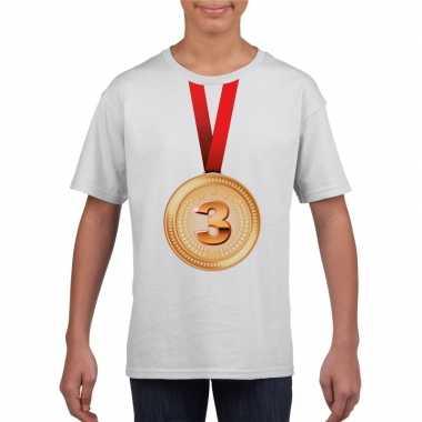 Kampioen bronzen medaille shirt wit jongens meisjes