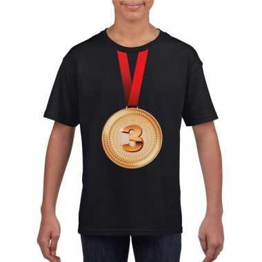 Kampioen bronzen medaille shirt zwart jongens meisjes