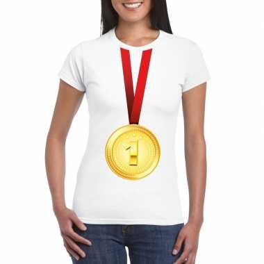 Kampioen gouden medaille shirt wit dames