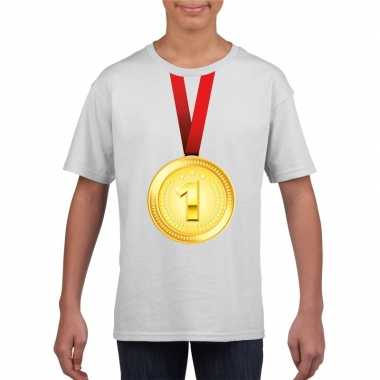 Kampioen gouden medaille shirt wit jongens meisjes