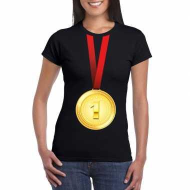 Kampioen gouden medaille shirt zwart dames