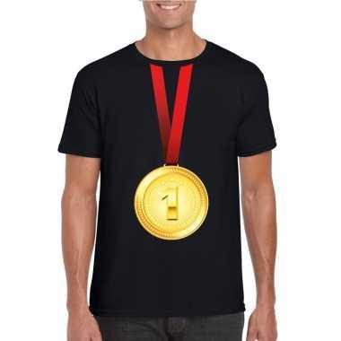 Kampioen gouden medaille shirt zwart heren