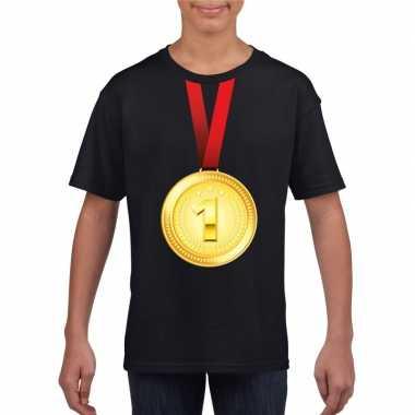 Kampioen gouden medaille shirt zwart jongens meisjes
