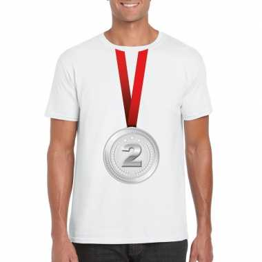 Kampioen zilveren medaille shirt wit heren