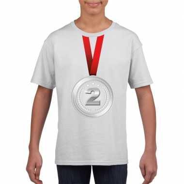 Kampioen zilveren medaille shirt wit jongens meisjes