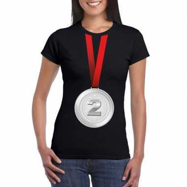 Kampioen zilveren medaille shirt zwart dames
