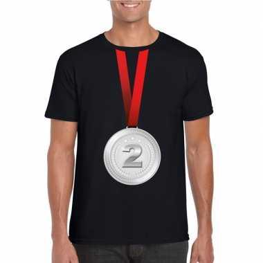 Kampioen zilveren medaille shirt zwart heren