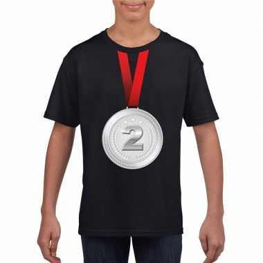 Kampioen zilveren medaille shirt zwart jongens meisjes