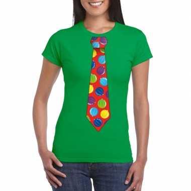 Kerst t shirt stropdas kerstballen print groen dames
