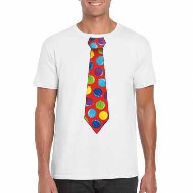 Kerst t shirt stropdas kerstballen print wit heren