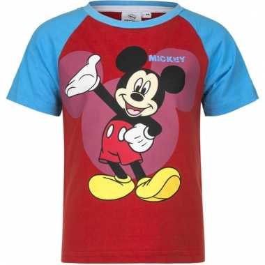 Kindershirt mickey mouse blauw rood