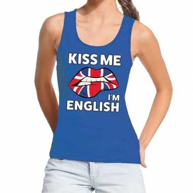 Kiss me i am english tanktop / mouwloos shirt blauw dames