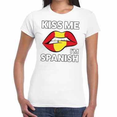 Kiss me i am spanish t shirt wit dames