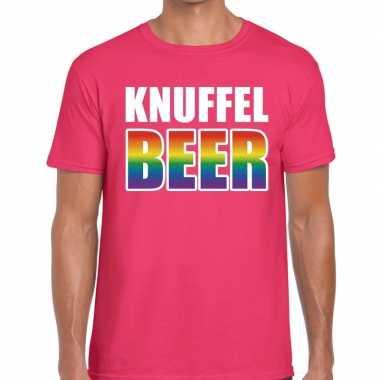 Knuffel beer gay pride t shirt roze heren
