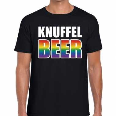 Knuffel beer gaypride shirt zwart heren