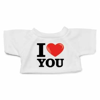 Knuffel kleding i love you t shirt wit m clothies knuffels