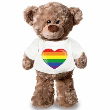Knuffel teddybeer gaypride vlag hart t shirt 24