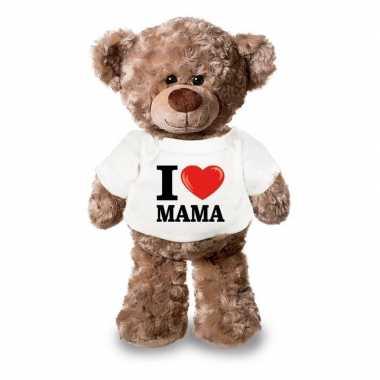 Knuffel teddybeer i love mama shirt 24