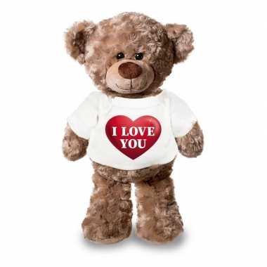 Knuffel teddybeer i love you hart shirt 43