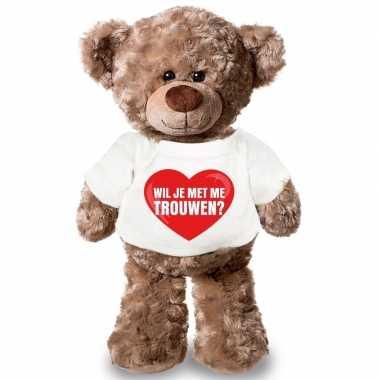 Knuffel teddybeer wil je me trouwen hart shirt 43